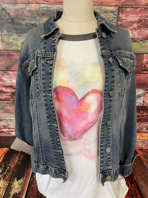 Pastel heart 3/4 sleeve shirt