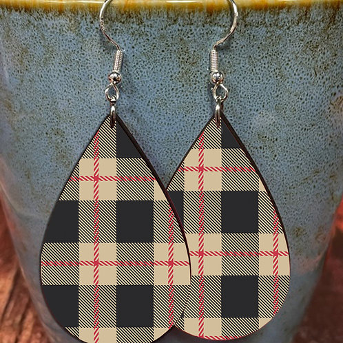 black brown plaid oval earring pair