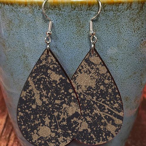 splatter gold on black oval earring pair