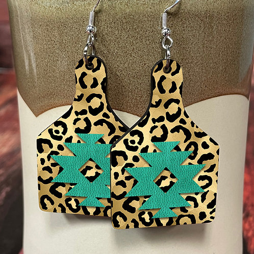 cheetah aztec cow tag earring pair