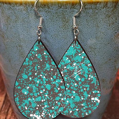 splatter green white dots oval earring pair