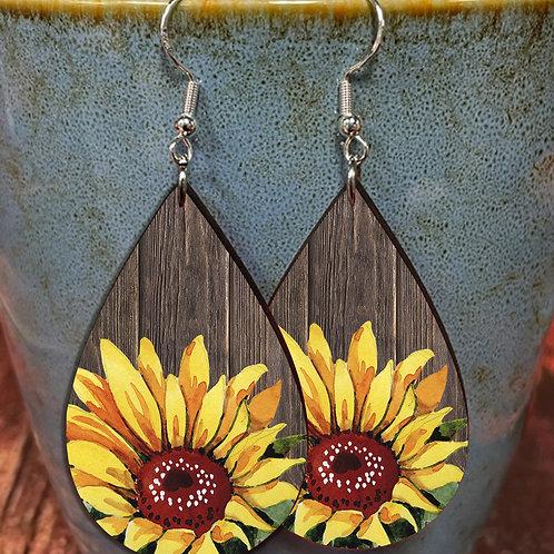 sunflower on wood oval earring pair