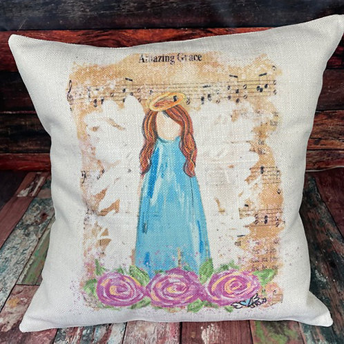 Amazing Grace red hair angel pillow