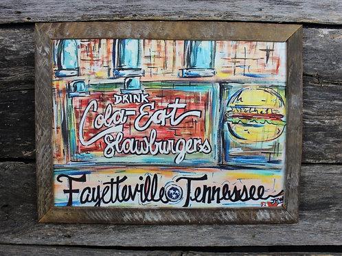 """Fayetteville - Drink Cola Eat Slawburgers 18""""x24"""" framed picture"""