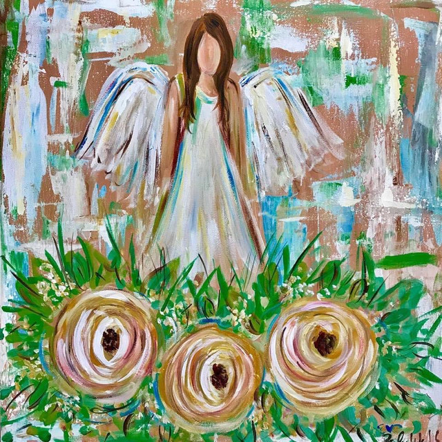 Angel on Trio of Flowers