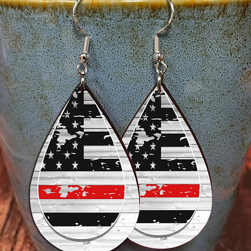 USA red black flag on wood  oval earring pair