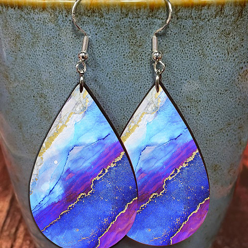 purple blue iridescent marble oval earring pair