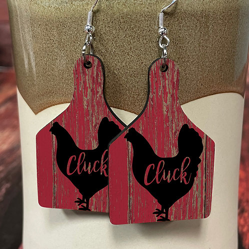 cluck cow tag earring pair