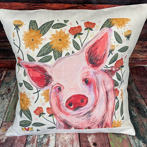 Pig with floral background pillow