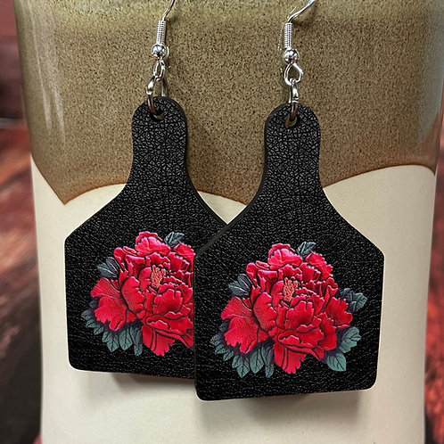 red rose black leather cow tag earring pair