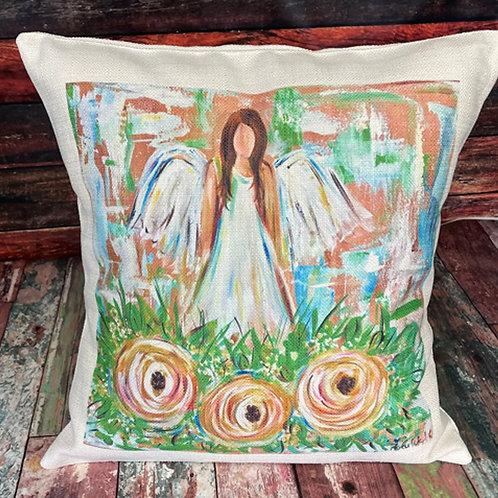Brunette angel roses pillow