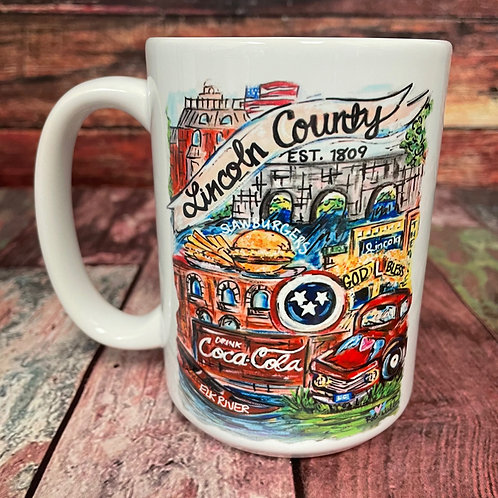 Lincoln County double-sided 15oz ceramic mug