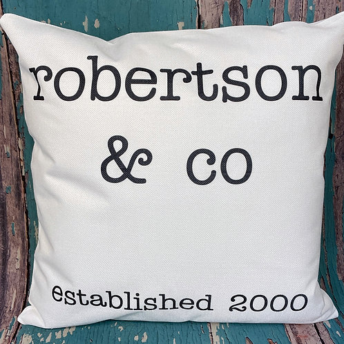 Custom family and established date pillow