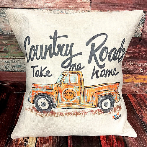 Country Roads Take Me Home16x16 pillow