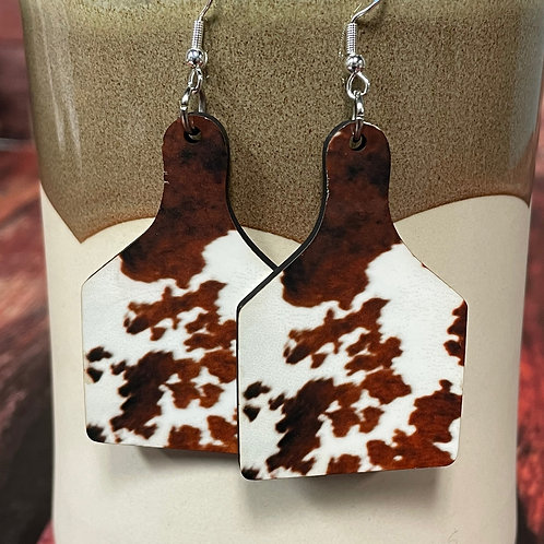 cow print cow tag earring pair