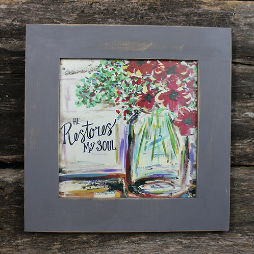 "He Restores My Soul 15""x15"" framed picture"