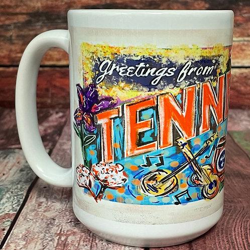 Greetings from Fayetteville wraparound 15oz ceramic mug