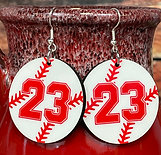 customized round baseball earring pair