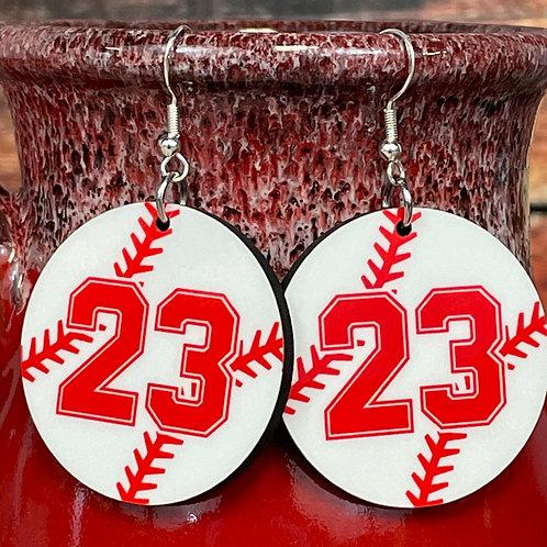 customized round baseball earring pair