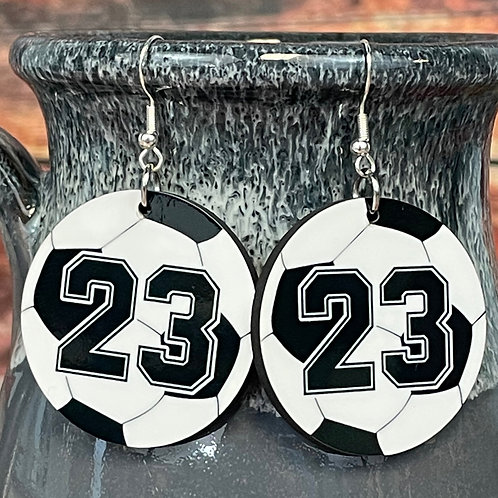 customized round soccer earring pair