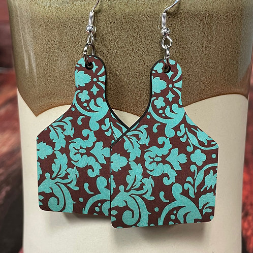 turquoise floral cow tag earring pair