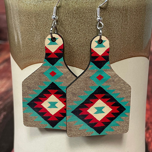 aztec 2 cow tag earring pair