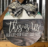 This Is Us white lettering doorhanger