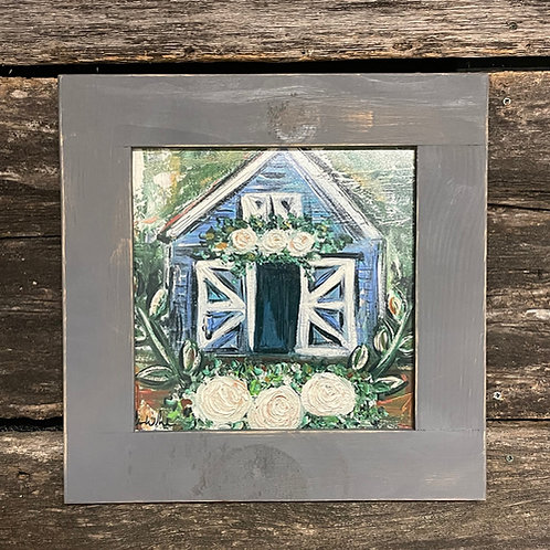 "Blue Barn 15""x15"" framed picture"