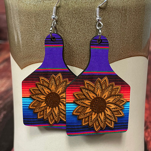 leather flower on aztec cow tag earring pair
