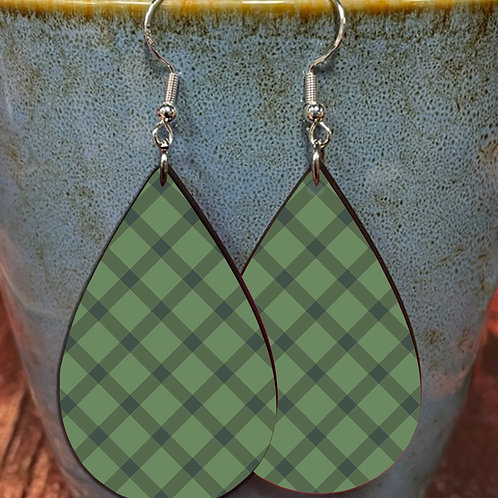 green plaid oval earring pair