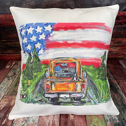 USA truck with trees pillow