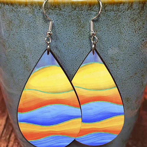 abstract sunset oval earring pair