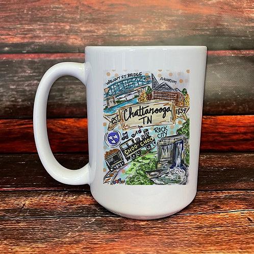 Chattanooga double-sided 15oz ceramic mug