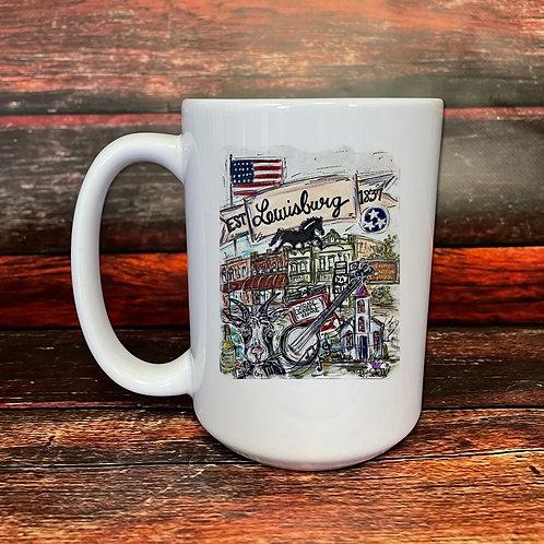 Lewisburg double-sided 15oz ceramic mug