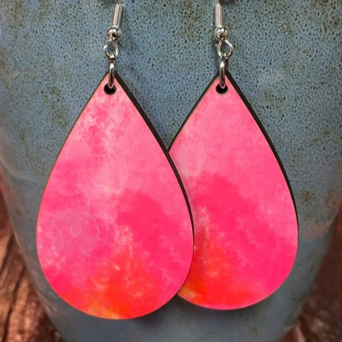 pink pastel oval earring pair