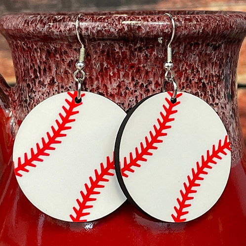 round baseball earring pair