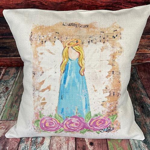 Amazing Grace blonde angel pillow