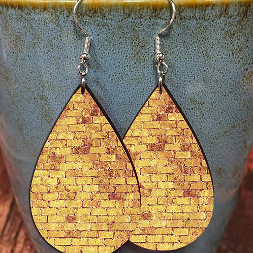 gold brick oval earring pair