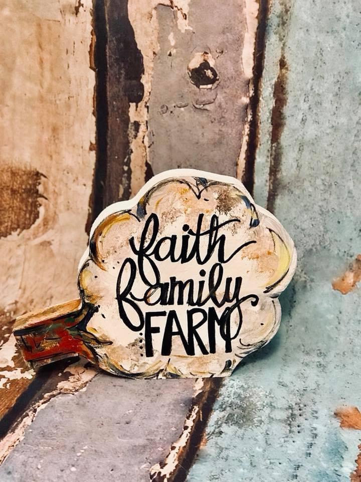 Faith, Family, Farm Wood Cotton