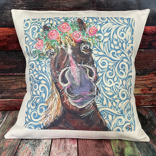 Horse with floral pillow