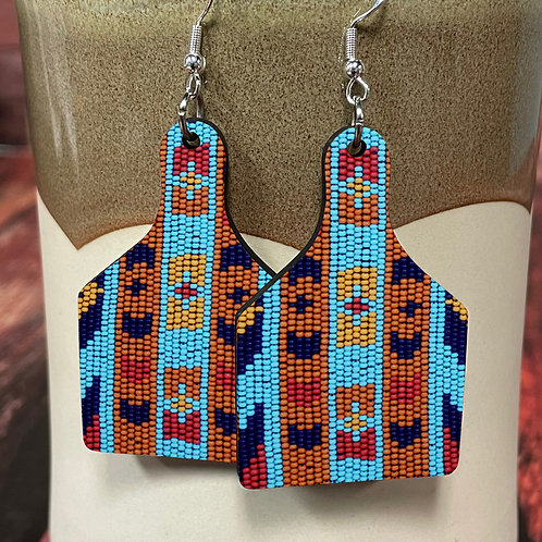 indian bead cow tag earring pair