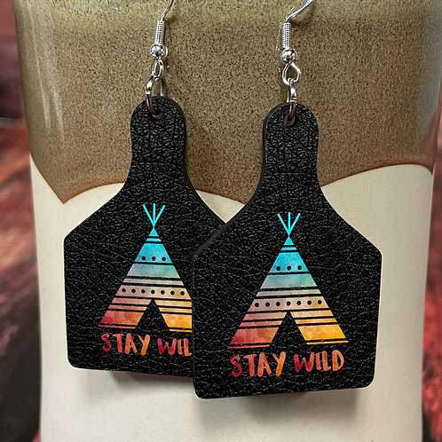 stay wild cow tag earring pair