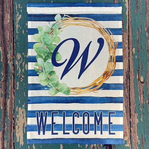 Custom garden flag with family last name monogram