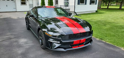 Red Dual Racing Stripes - Bumper to Bumper - Installed on a Ford Mustang