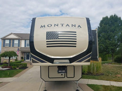 USA Flag in Satin Black - Installed on a Montana High Country 5th Wheel
