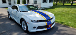 Maize and Blue Racing Stripes - Bumper to Bumper - Installed on a Chevy Camaro