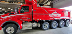 Fleet Decals Installed on a Dump Truck for Fort Wayne Contracting