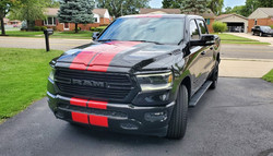 Red Dual Racing Stripes - Bumper to Bumper - Installed on a Ram Truck