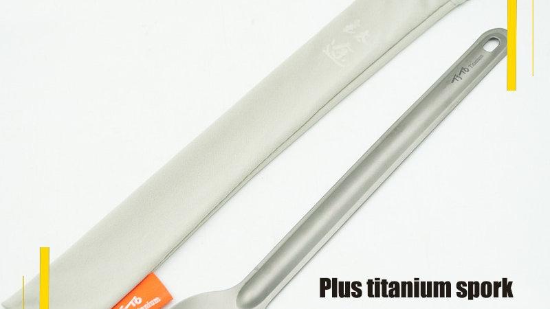 Long Handle Titanium Spoon Camping Cutlery Spork