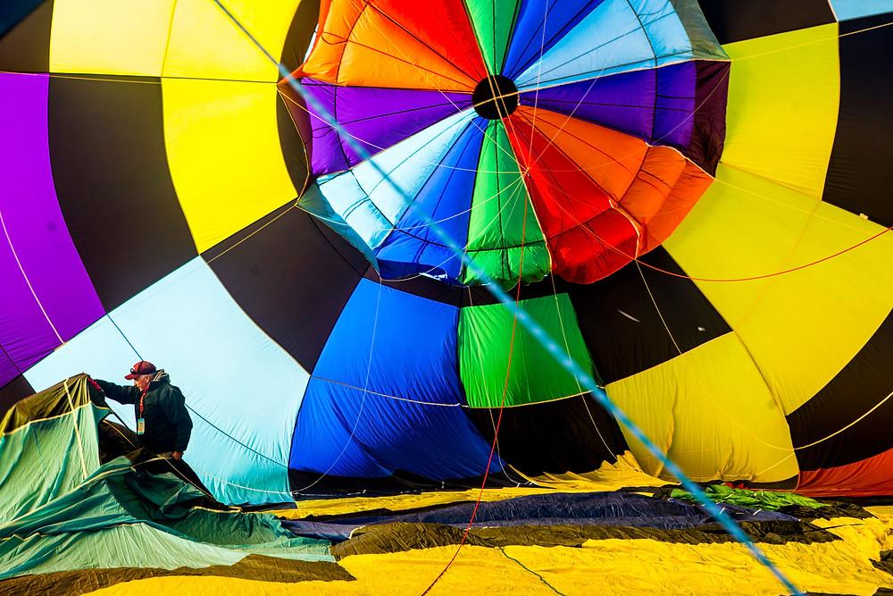 Inside a balloon